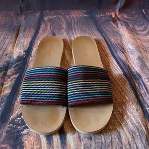Madewell Slip on Rainbow Stripe Sandals